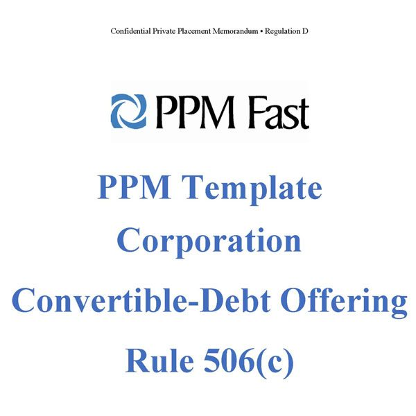 Ppm Template For Corporation Convertible Debt  C  Private